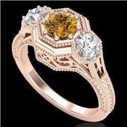 1.05 CTW Intense Fancy Yellow Diamond Art Deco 3 Stone Ring 18K Rose Gold - REF-161H8A - 37953