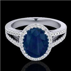 3 CTW Sapphire & Micro Pave VS/SI Diamond Halo Solitaire Ring 18K White Gold - REF-78K2W - 20949