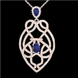 3.50 CTW Tanzanite & Micro VS/SI Diamond Heart Necklace Solitaire 14K Rose Gold - REF-191H3A - 21254