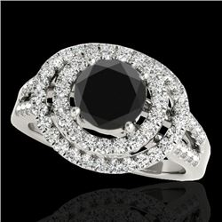 1.75 CTW Certified VS Black Diamond Solitaire Halo Ring 10K White Gold - REF-101X5T - 34286