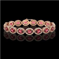 21.71 CTW Tourmaline & Diamond Halo Bracelet 10K Rose Gold - REF-338F9N - 40620