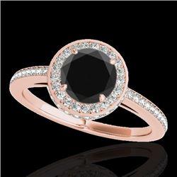 1.55 CTW Certified VS Black Diamond Solitaire Halo Ring 10K Rose Gold - REF-86K9W - 34278