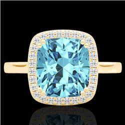 3.50 CTW Sky Blue Topaz & Micro VS/SI Diamond Halo Solitaire Ring 18K Yellow Gold - REF-48Y9K - 2285