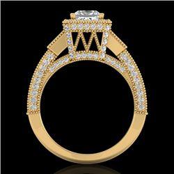 3.53 CTW Princess VS/SI Diamond Micro Pave 3 Stone Ring 18K Yellow Gold - REF-618X2T - 37177
