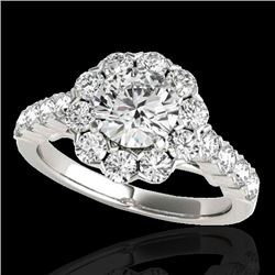 3 CTW H-SI/I Certified Diamond Solitaire Halo Ring 10K White Gold - REF-410W9F - 33553