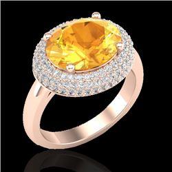 4 CTW Citrine & Micro Pave VS/SI Diamond Ring 14K Rose Gold - REF-89X8T - 20910