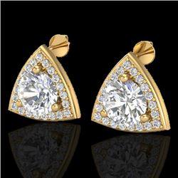 3 CTW Micro Pave Halo VS/SI Diamond Stud Earrings 18K Yellow Gold - REF-824K3W - 20189