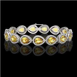 17.3 CTW Fancy Citrine & Diamond Halo Bracelet 10K White Gold - REF-282N9Y - 41276