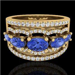 2.25 CTW Tanzanite & Micro Pave VS/SI Diamond Designer Ring 10K Yellow Gold - REF-80N2Y - 20808