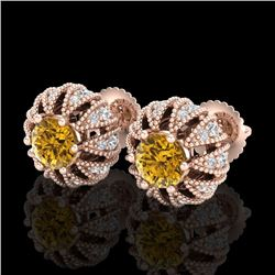 2.01 CTW Intense Fancy Yellow Diamond Art Deco Stud Earrings 18K Rose Gold - REF-210K9W - 37736