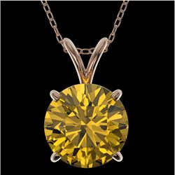 2 CTW Certified Intense Yellow SI Diamond Solitaire Necklace 10K Rose Gold - REF-492N2Y - 33239