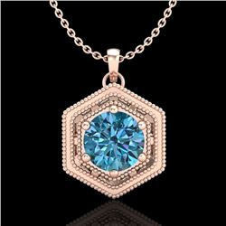 0.76 CTW Fancy Intense Blue Diamond Solitaire Art Deco Necklace 18K Rose Gold - REF-103F6N - 37517