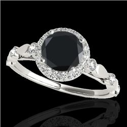 1.25 CTW Certified VS Black Diamond Solitaire Halo Ring 10K White Gold - REF-55F5N - 33619