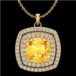 1.77 CTW Citrine & Micro Pave VS/SI Diamond Halo Necklace 18K Yellow Gold - REF-63F5N - 20453