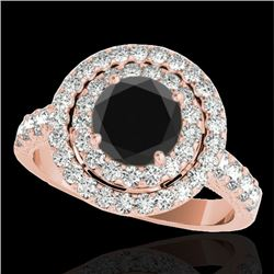 3 CTW Certified VS Black Diamond Solitaire Halo Ring 10K Rose Gold - REF-147Y3K - 34224