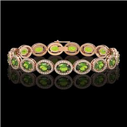 21.13 CTW Peridot & Diamond Halo Bracelet 10K Rose Gold - REF-286W5F - 40629