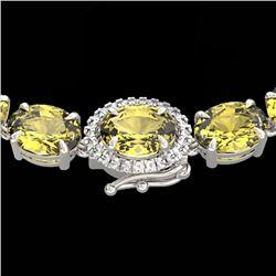 72 CTW Citrine & VS/SI Diamond Tennis Micro Pave Halo Necklace 14K White Gold - REF-281Y8K - 23455