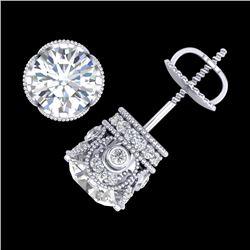 3 CTW VS/SI Diamond Solitaire Art Deco Stud Earrings 18K White Gold - REF-586H6A - 36860