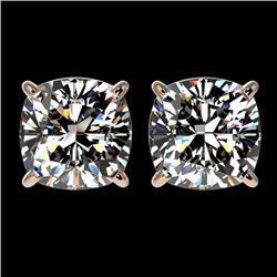 2.50 CTW Certified VS/SI Quality Cushion Cut Diamond Stud Earrings 10K Rose Gold - REF-840K2W - 3311