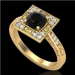 1.1 CTW Fancy Black Diamond Solitaire Engagement Art Deco Ring 18K Yellow Gold - REF-100H2A - 38152