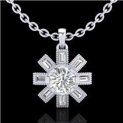 1.33 CTW VS/SI Diamond Solitaire Art Deco Stud Necklace 18K White Gold - REF-220H9A - 37067