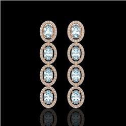 4.68 CTW Aquamarine & Diamond Halo Earrings 10K Rose Gold - REF-115F6N - 40527