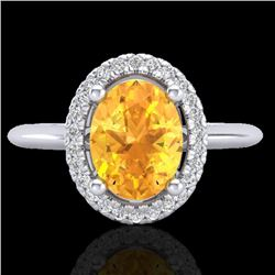 1.75 CTW Citrine & Micro VS/SI Diamond Ring Solitaire Halo 18K White Gold - REF-43Y6K - 21007