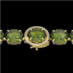65 CTW Green Tourmaline & Micro VS/SI Diamond Halo Bracelet 14K Yellow Gold - REF-593M8H - 22264