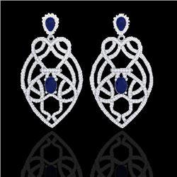 7 CTW Sapphire & Micro VS/SI Diamond Heart Earrings Designer 14K White Gold - REF-381Y8K - 21140