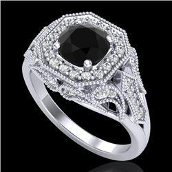 1.75 CTW Fancy Black Diamond Solitaire Engagement Art Deco Ring 18K White Gold - REF-136A4X - 38276