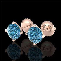 2 CTW Fancy Intense Blue Diamond Solitaire Art Deco Earrings 18K Rose Gold - REF-272Y8K - 38245
