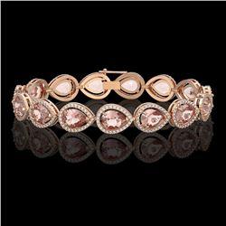 19.55 CTW Morganite & Diamond Halo Bracelet 10K Rose Gold - REF-480T4M - 41247