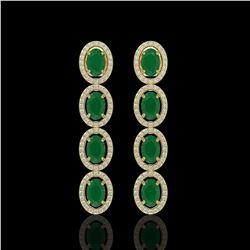 6.47 CTW Emerald & Diamond Halo Earrings 10K Yellow Gold - REF-114F2N - 40504
