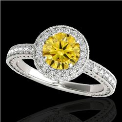 1.51 CTW Certified Si/I Fancy Intense Yellow Diamond Solitaire Halo Ring 10K White Gold - REF-180H2A