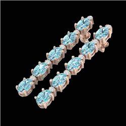 6 CTW Sky Blue Topaz & VS/SI Diamond Tennis Earrings 10K Rose Gold - REF-38T2M - 21514