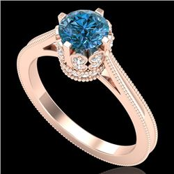 1.14 CTW Fancy Intense Blue Diamond Solitaire Art Deco Ring 18K Rose Gold - REF-136M4H - 37342