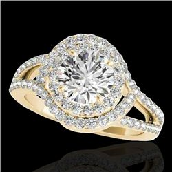 2.15 CTW H-SI/I Certified Diamond Solitaire Halo Ring 10K Yellow Gold - REF-343M6H - 34398