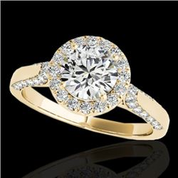 1.5 CTW H-SI/I Certified Diamond Solitaire Halo Ring 10K Yellow Gold - REF-218X2T - 33564