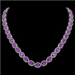 45.16 CTW Amethyst & Diamond Halo Necklace 10K White Gold - REF-560A2X - 40592