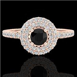 0.80 CTW Micro VS/SI Diamond Designer Ring 14K Rose Gold - REF-58W2F - 20892