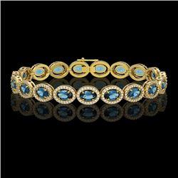14.82 CTW London Topaz & Diamond Halo Bracelet 10K Yellow Gold - REF-232X5T - 40489