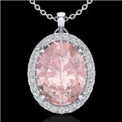 2.75 CTW Morganite & Micro VS/SI Diamond Halo Solitaire Necklace 18K White Gold - REF-82W8F - 20593
