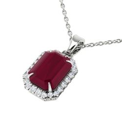 5.50 CTW Ruby And Micro Pave VS/SI Diamond Halo Necklace 18K White Gold - REF-79F6N - 21365