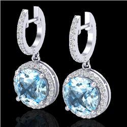 5.50 CTW Sky Blue Topaz & Micro Pave VS/SI Diamond Designer Halo 18K White Gold - REF-87M8H - 23186