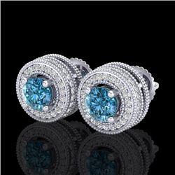 2.09 CTW Fancy Intense Blue Diamond Art Deco Stud Earrings 18K White Gold - REF-218A2X - 38013