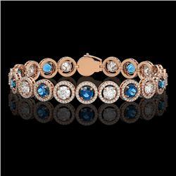 13.56 CTW Blue & White Diamond Designer Bracelet 18K Rose Gold - REF-3235T5M - 42591