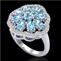 3 CTW Sky Blue Topaz & VS/SI Diamond Cluster Halo Ring 10K White Gold - REF-52K2W - 20774