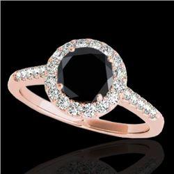 2 CTW Certified VS Black Diamond Solitaire Halo Ring 10K Rose Gold - REF-89F3N - 33494