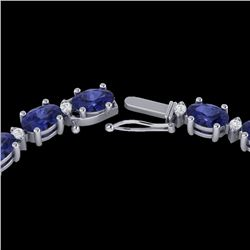 61.85 CTW Tanzanite & VS/SI Certified Diamond Eternity Necklace 10K White Gold - REF-792X8T - 29519