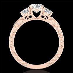 1.41 CTW VS/SI Diamond Solitaire Art Deco 3 Stone Ring 18K Rose Gold - REF-263A6X - 37008